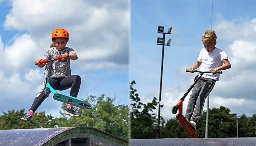 freestyle scootering, Kaliningrad skate Park, scooter sport, young people in a skate Park, stunt scooters